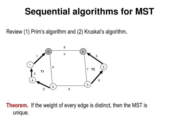Sequential algorithms for mst
