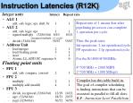 instruction latencies r12k
