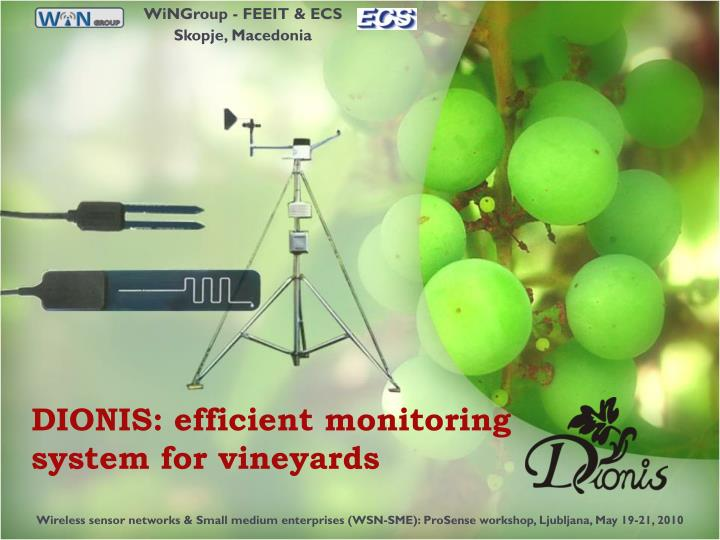 dionis efficient monitoring system for vineyards n.