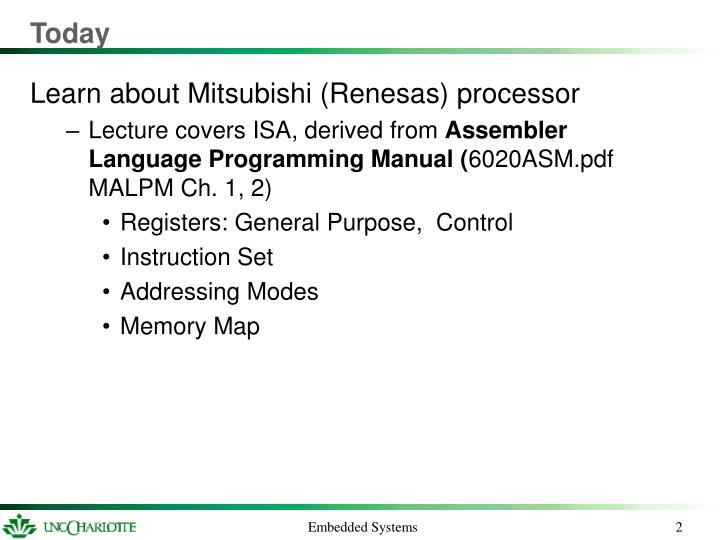 Ppt Mitsubishi M16c Instruction Set Architecture Powerpoint