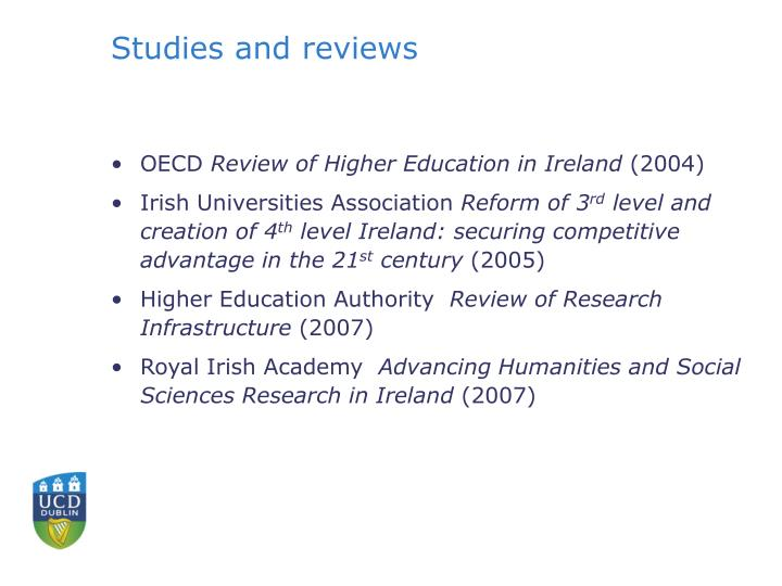 Studies and reviews