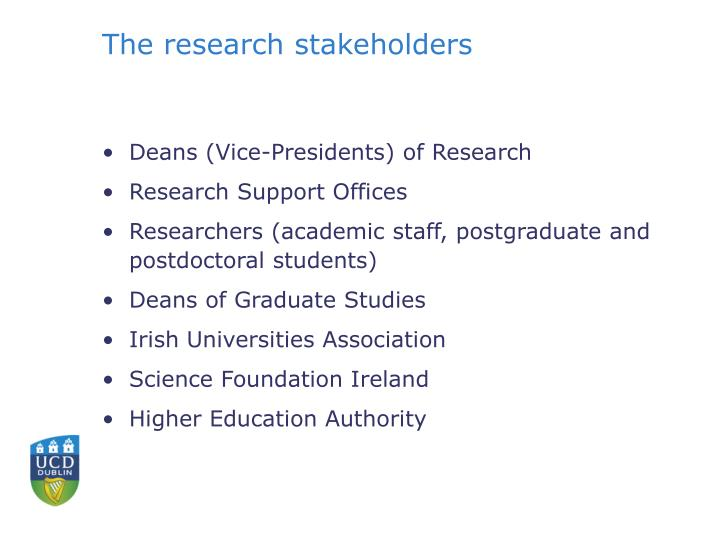 The research stakeholders