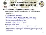 participating organizations and their roles continued