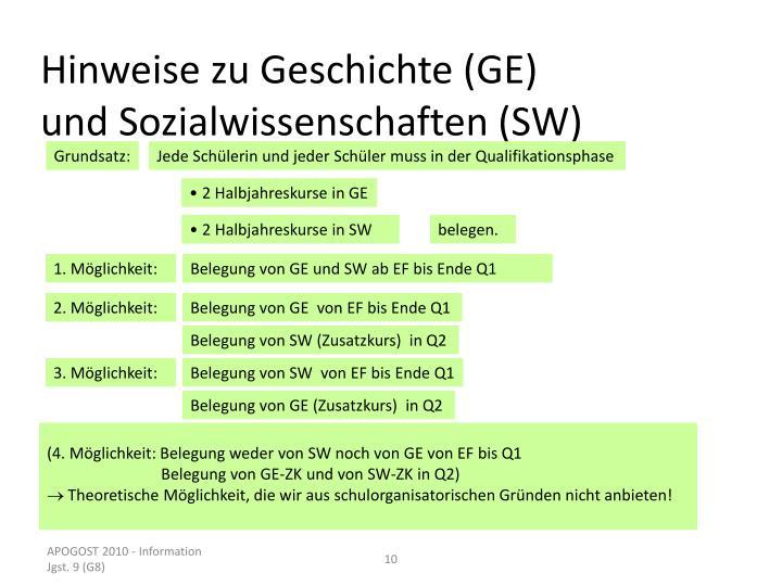 Hinweise zu Geschichte (GE) und Sozialwissenschaften (SW)