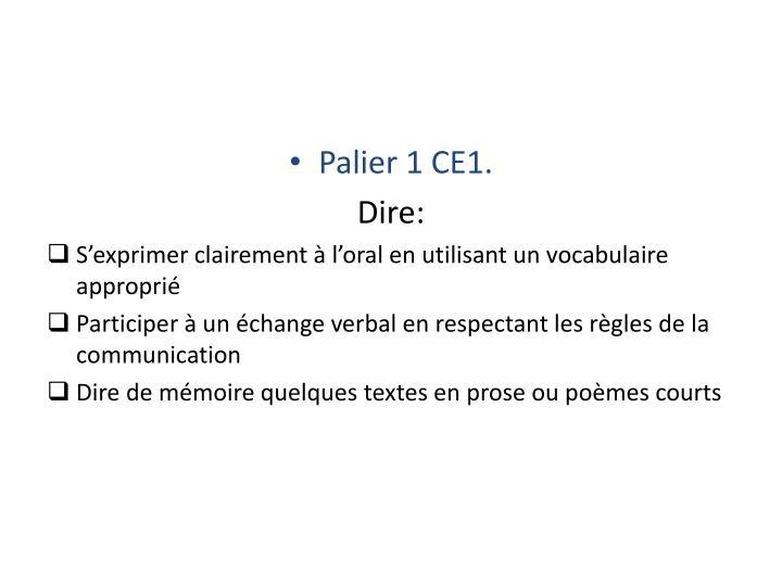 Palier 1 CE1.