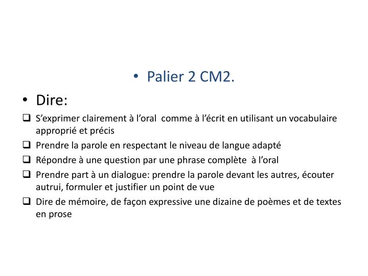Palier 2 CM2.