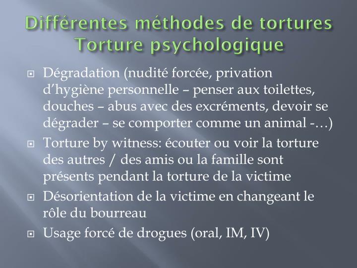 Différentes méthodes de tortures