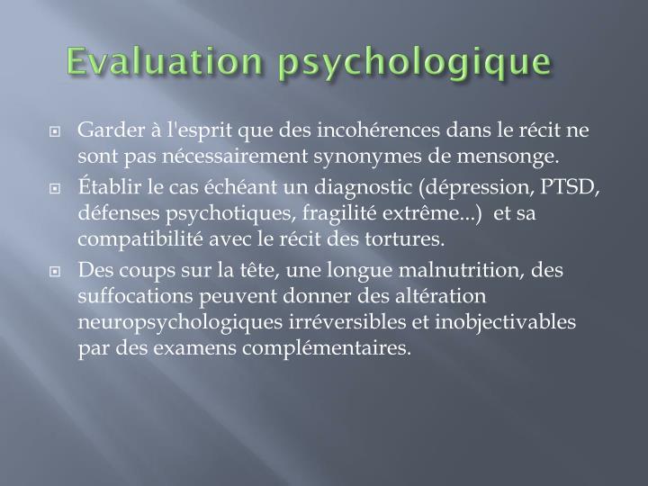 Evaluation psychologique