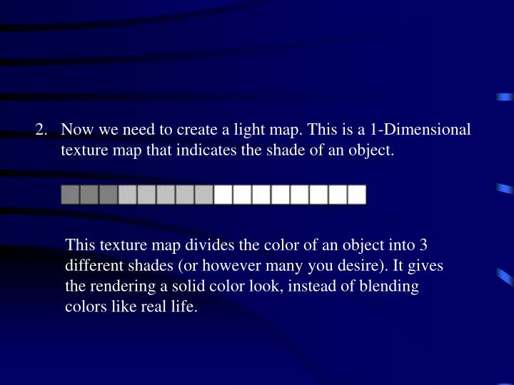 Now we need to create a light map. This is a 1-Dimensional texture map that indicates the shade of an object.