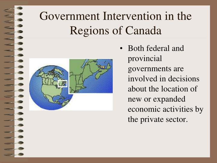Government Intervention in the Regions of Canada