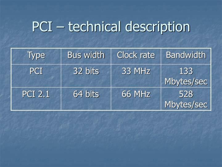 Pci technical description