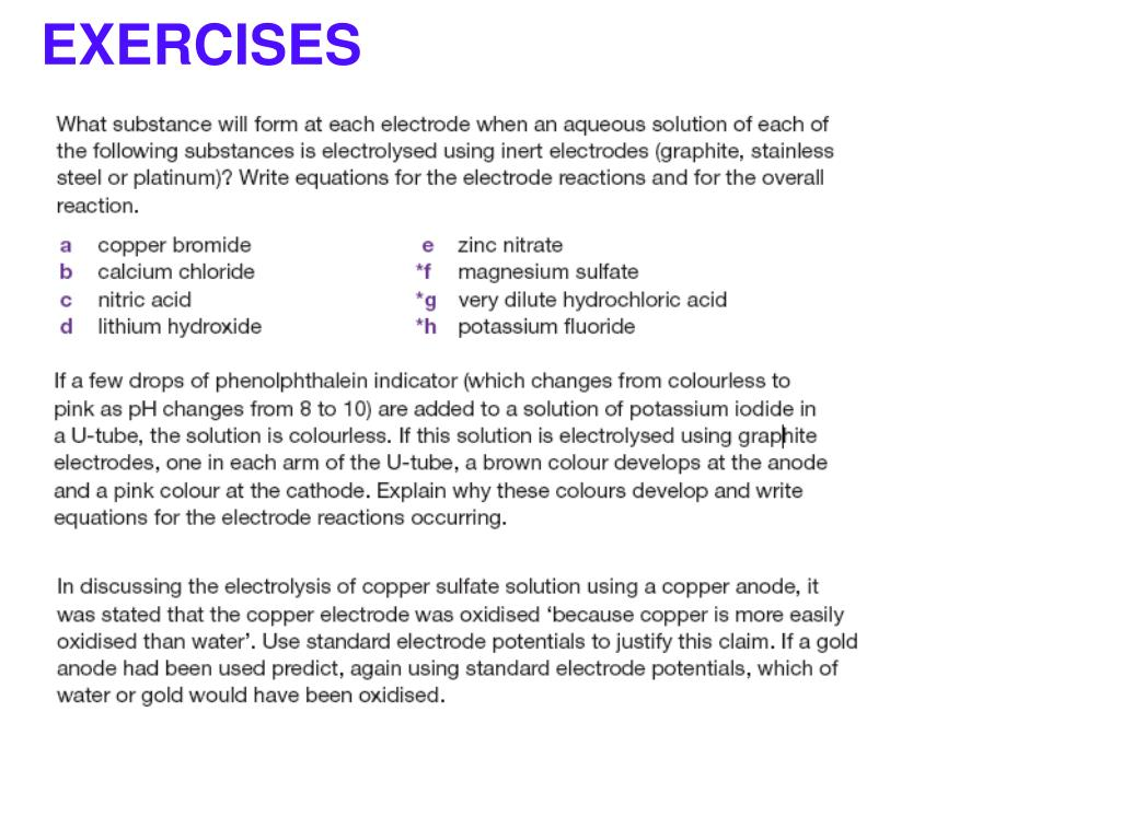 PPT - ELECTROLYSIS OF AQUEOUS SOLUTIONS PowerPoint