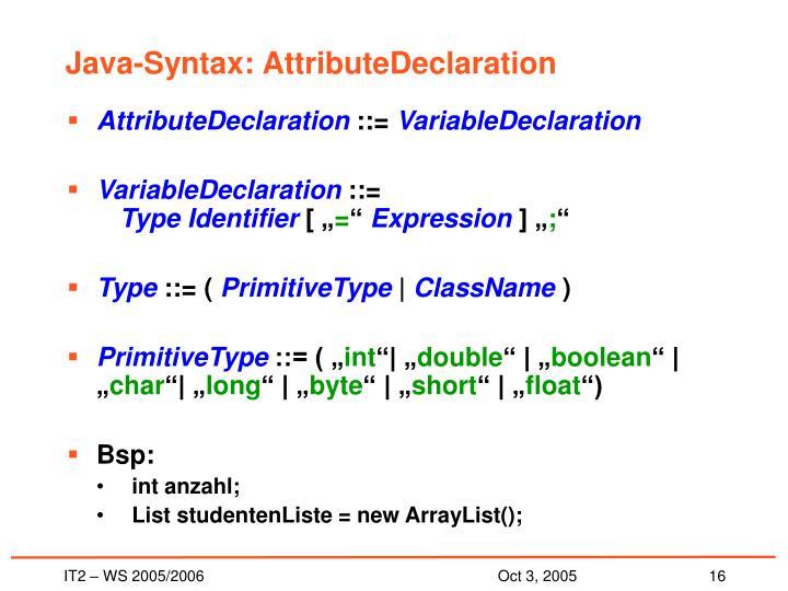 Java-Syntax: AttributeDeclaration