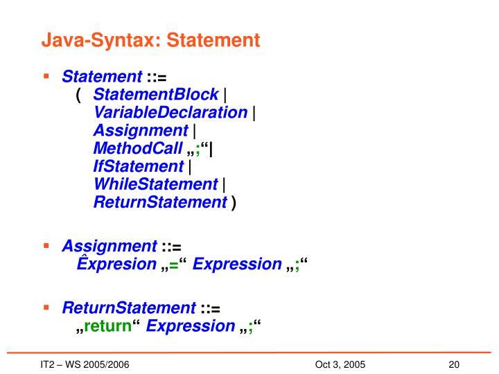 Java-Syntax: Statement