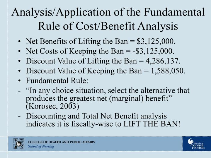 Analysis/Application of the Fundamental Rule of Cost/Benefit Analysis