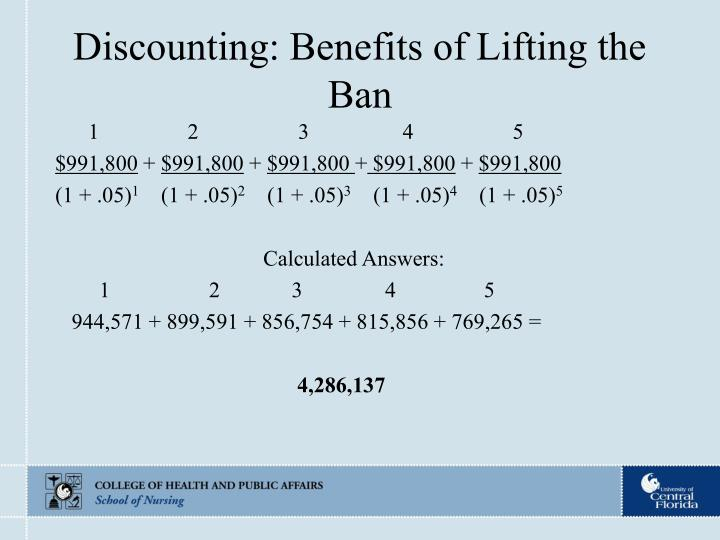 Discounting: Benefits of Lifting the Ban
