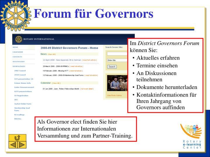 Forum für Governors