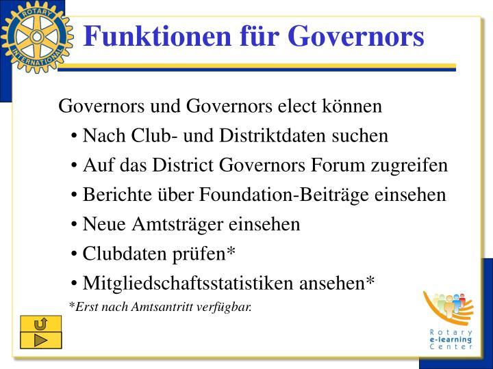 Funktionen für Governors