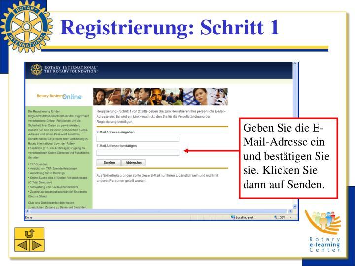 Registrierung: Schritt 1