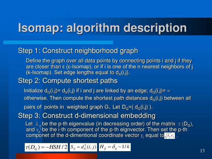 Isomap: algorithm description