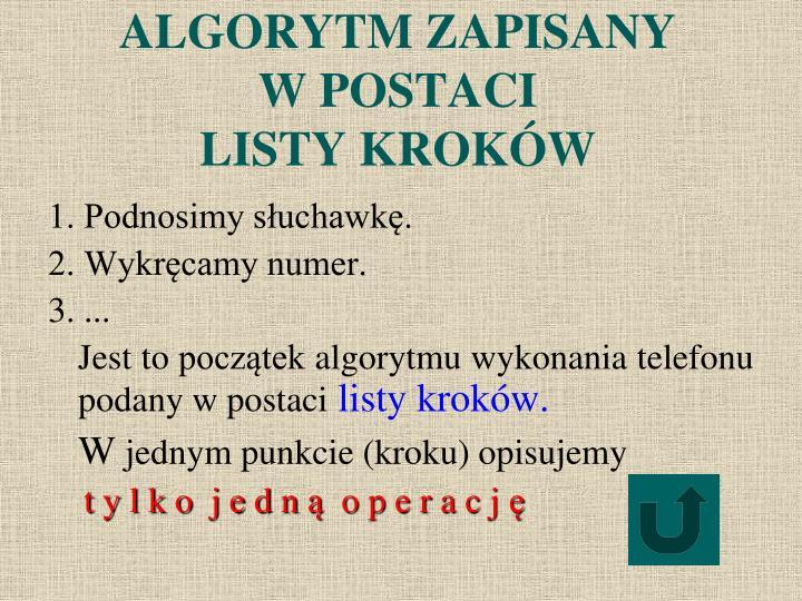 ALGORYTM ZAPISANY
