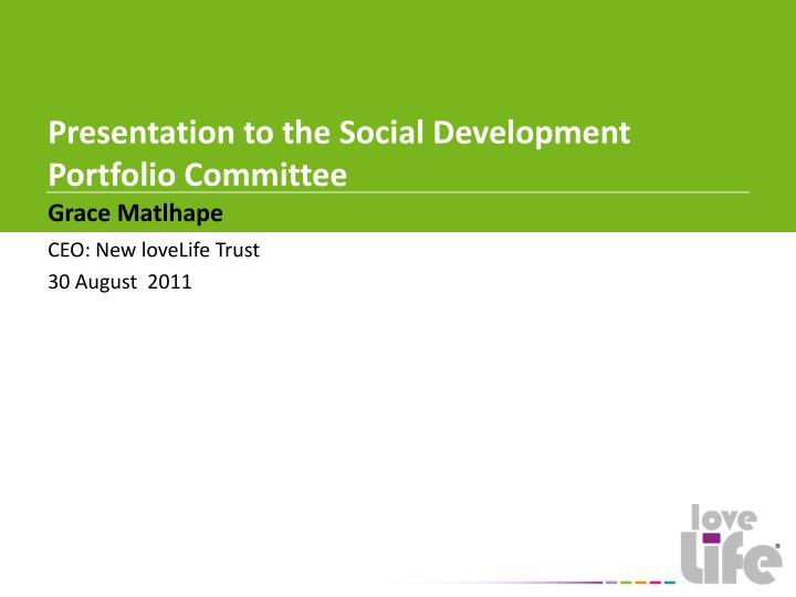 presentation to the social development portfolio committee n.