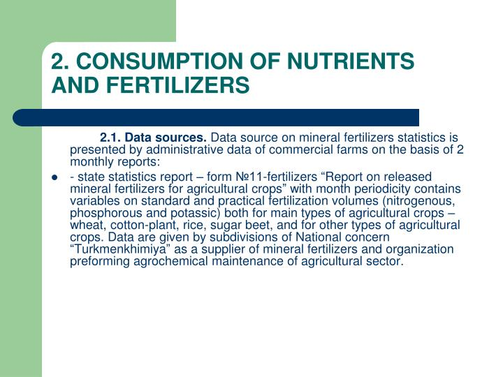 2 consumption of nutrients and fertilizers