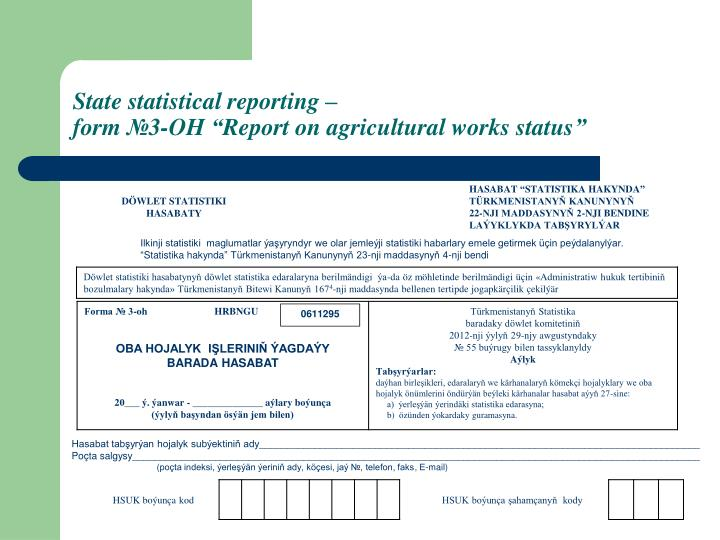 State statistical reporting