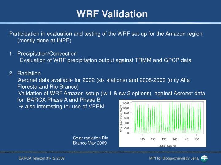 WRF Validation