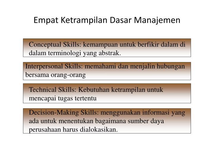 Empat Ketrampilan Dasar Manajemen