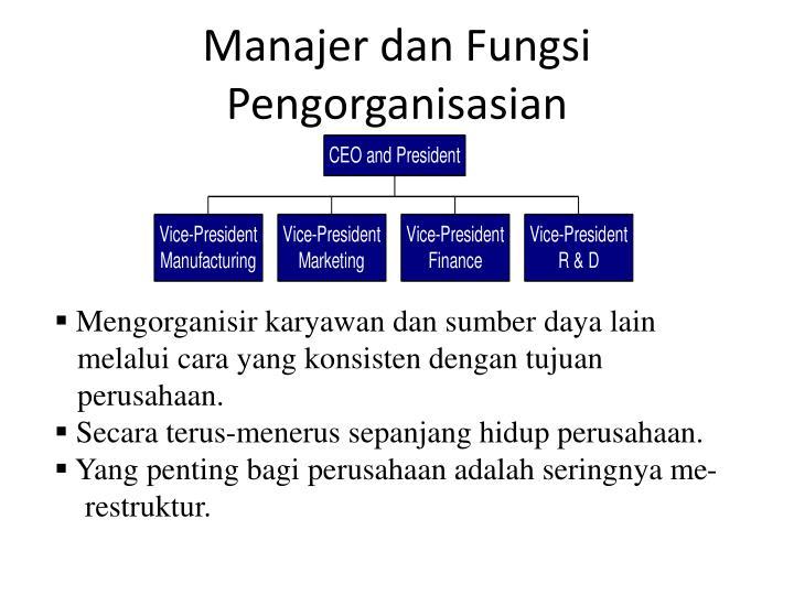 Manajer dan Fungsi Pengorganisasian