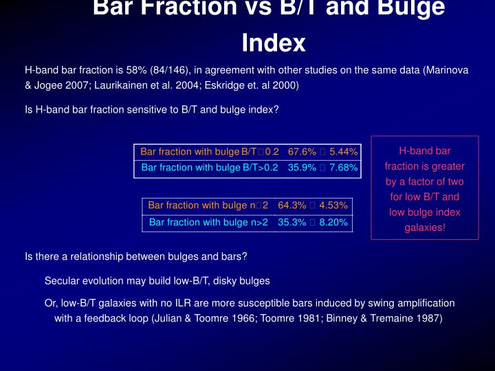 H-band bar fraction is greater by a factor of two for low B/T and low bulge index galaxies!
