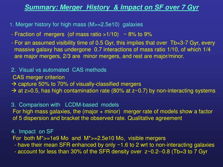 Summary: Merger  History  & Impact on SF over 7 Gyr