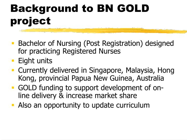 Background to bn gold project