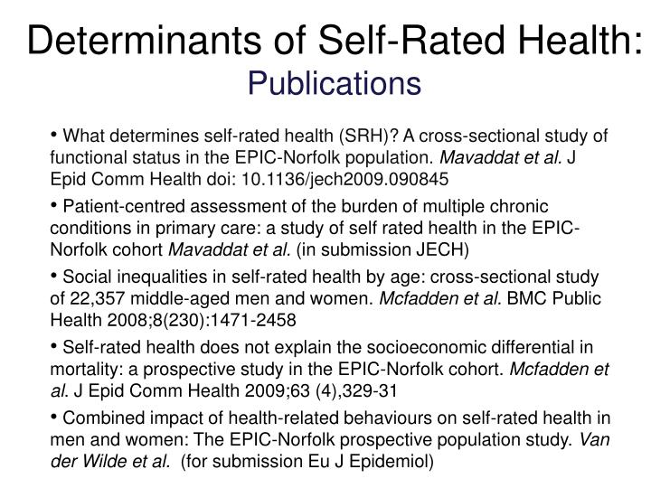Determinants of Self-Rated Health: