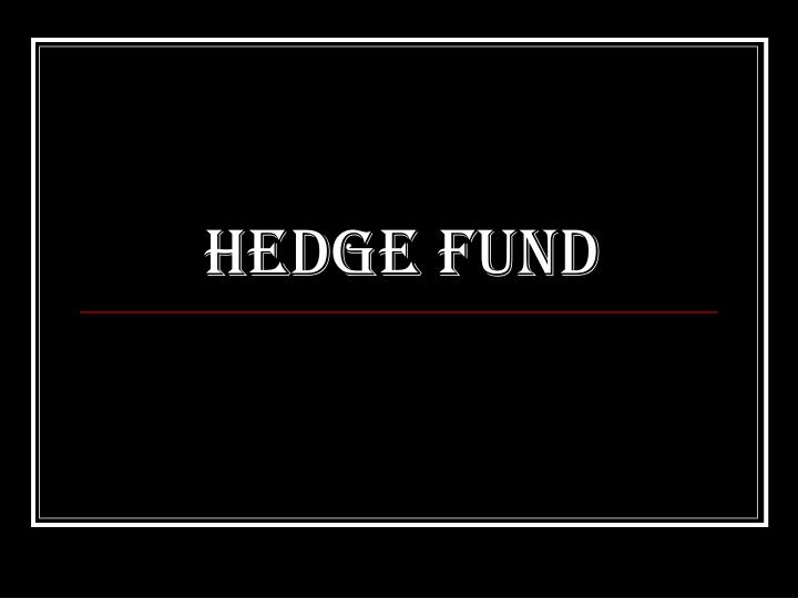 hedge fund n.