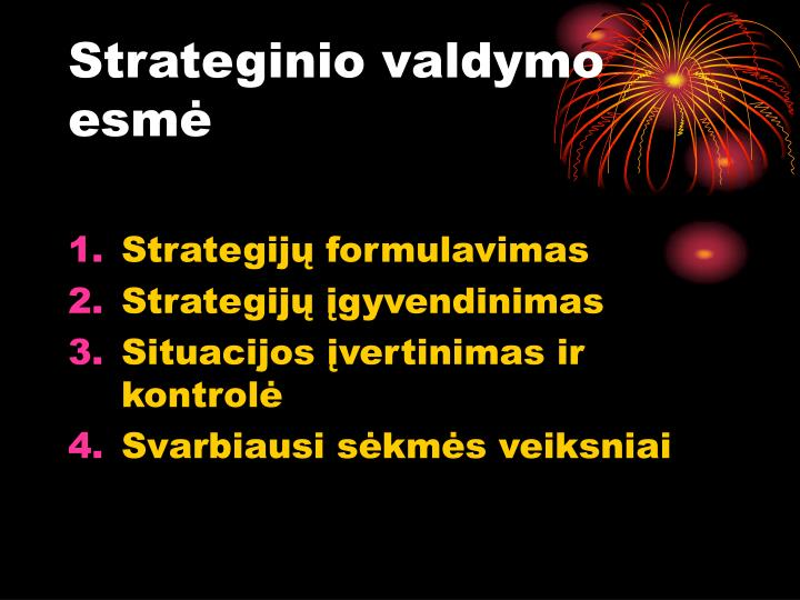 Strateginio valdymo esmė