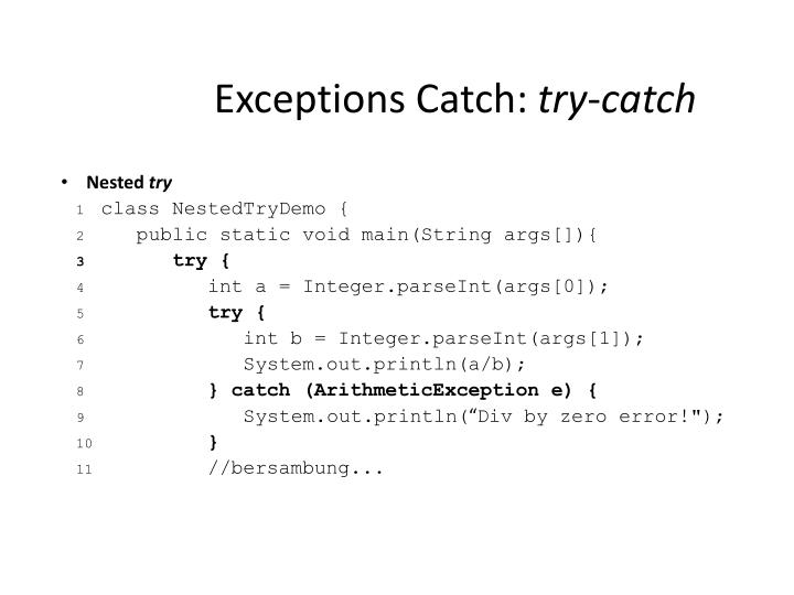 Exceptions Catch: