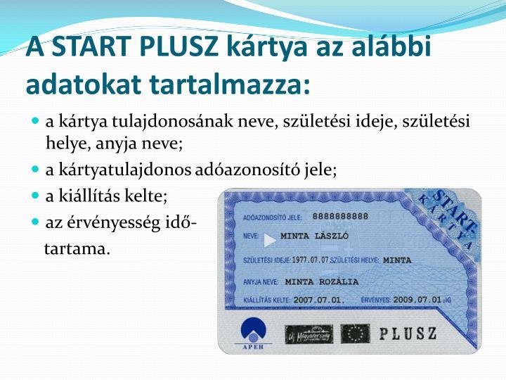 A START PLUSZ kártya az alábbi adatokat tartalmazza: