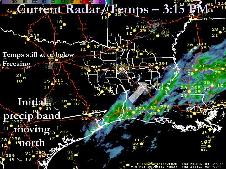 Current Radar/Temps – 3:15 PM