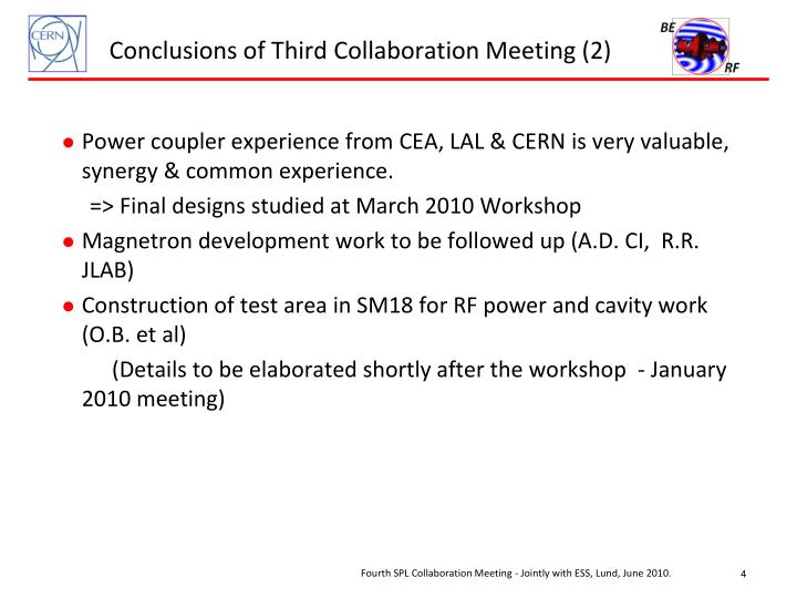 Conclusions of Third Collaboration Meeting (2)