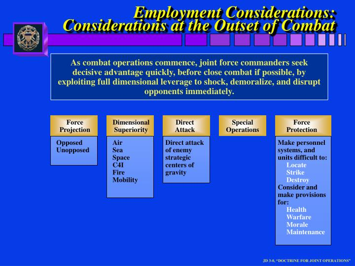 employment considerations considerations at the outset of combat n.