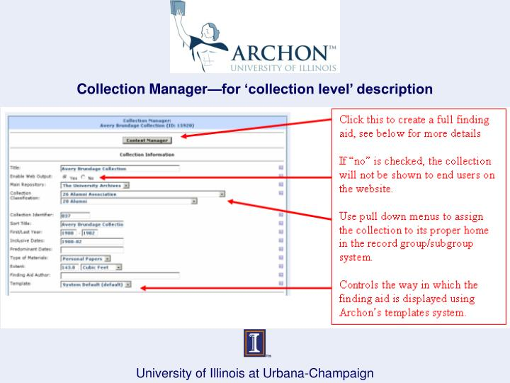 Collection Manager—for 'collection level' description