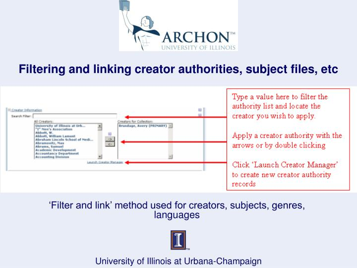 Filtering and linking creator authorities, subject files, etc