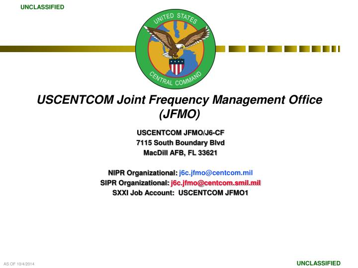 Uscentcom joint frequency management office jfmo