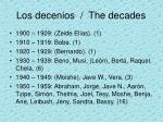 los decenios the decades