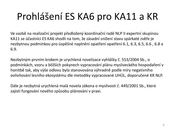 Prohlášení ES KA6 pro KA11 a KR