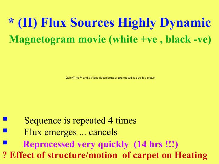 * (II) Flux Sources Highly Dynamic