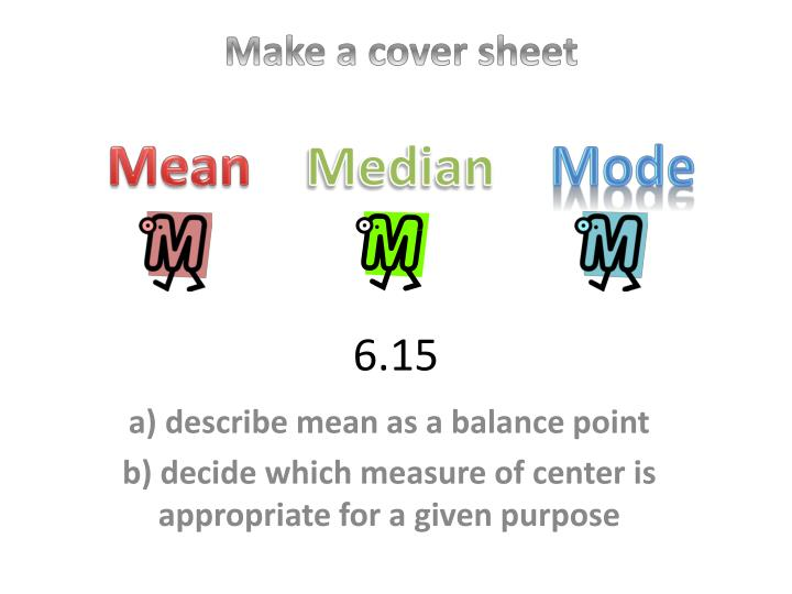 Make a cover sheet