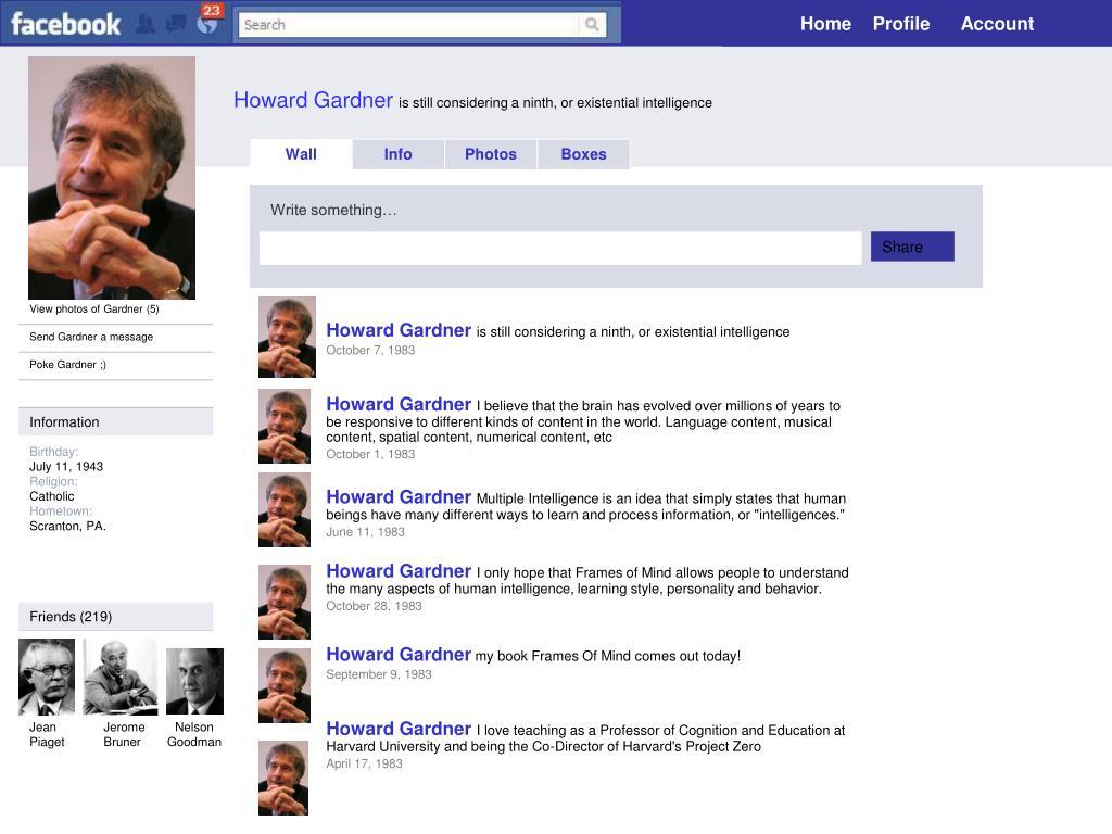 PPT - Howard Gardner is still considering a ninth, or existential ...